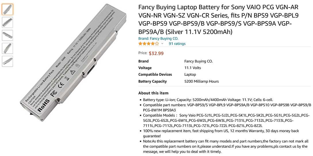 باتری لپ تاپ سونی BPS9 PCG-5G1L PCG-8Z1L 7Z2L