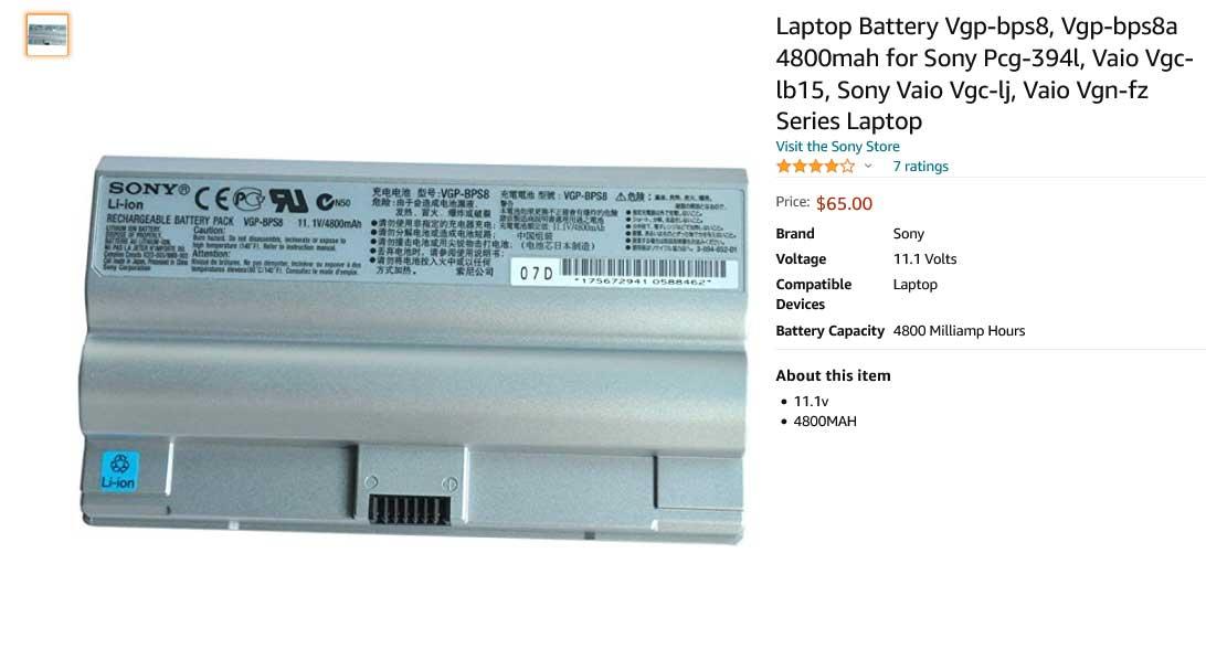 باتری لپ تاپ سونی Sony VAIO VGP-BPS8 A1258274A