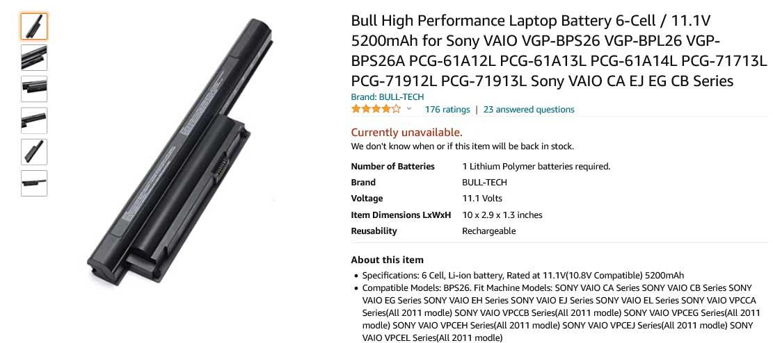 باتری لپ تاپ سونی VGP-BPS26 VPC-EL VGP-BPL26