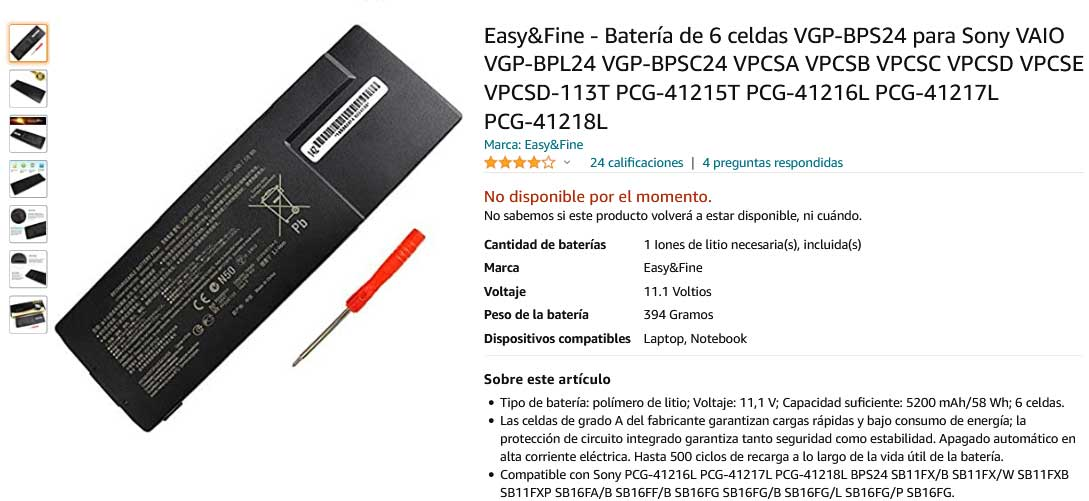 باتری لپ تاپ سونی Sony VGP-BPS24 VGP-BPL24