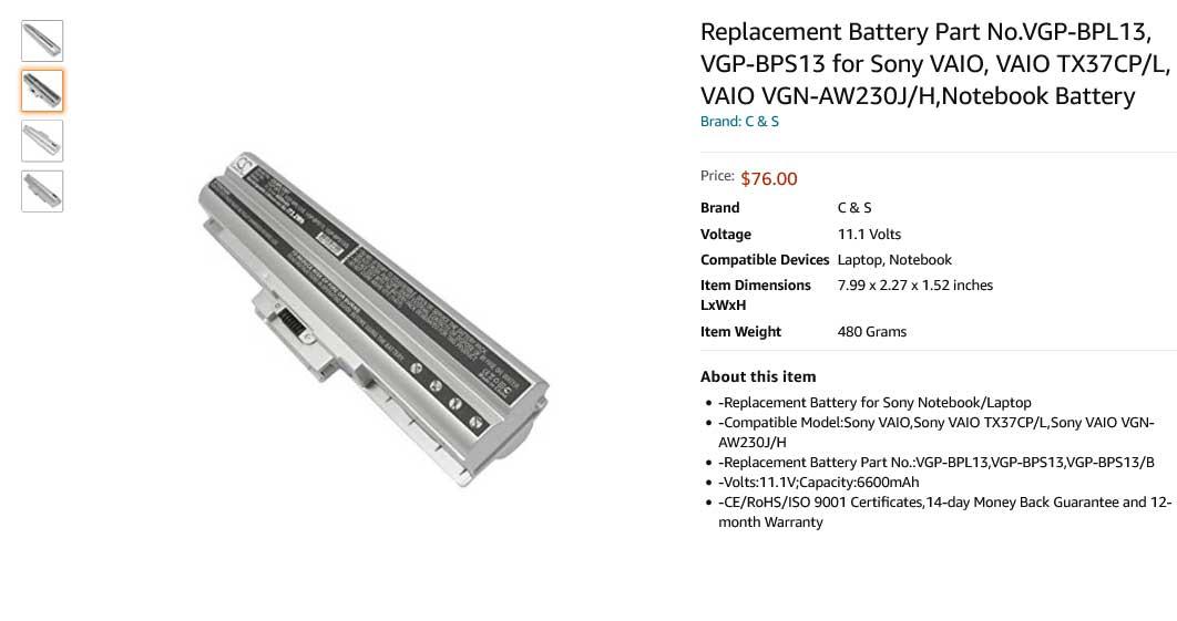 باتری لپ تاپ سونی VGP-BPS14 VGP-BPL14B Silver