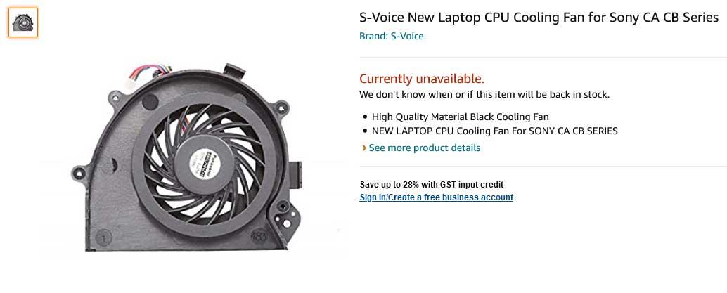 فن لپ تاپ سونی VPC CA CB CA16 CA17 CA26 CA27 CA28