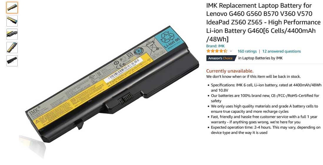 باتری لپ تاپ لنوو IdeaPad G460 G560 L09C6Y02