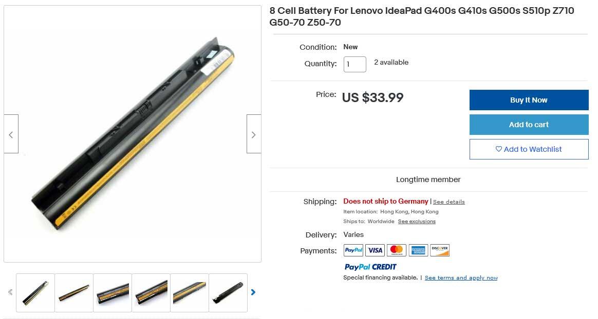 باتری لپ تاپ لنوو IdeaPad G400S G500s G50-70 Z50-70 8Cell