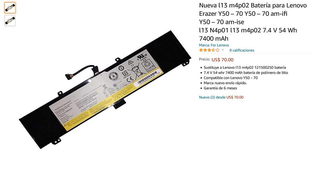 باتری لپ تاپ لنوو IdeaPad Y50-70 Y50-80 Y70-70