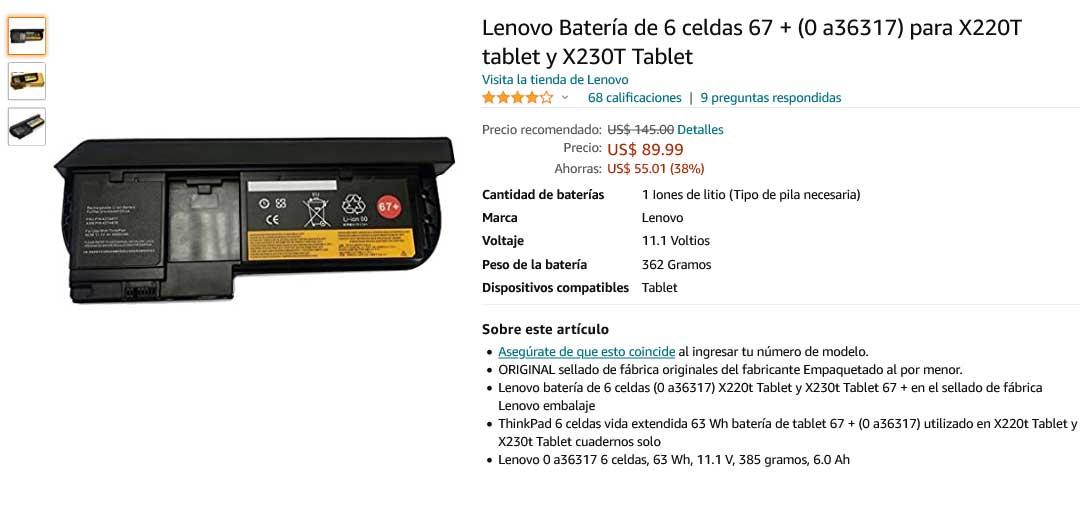 باتری لپ تاپ لنوو Lenovo X220T 45N1078 6Cell