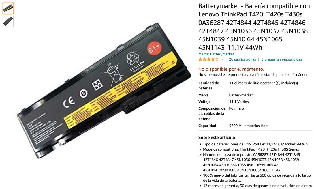 باتری لپ تاپ لنوو lenovo T430S T420S 45N1038