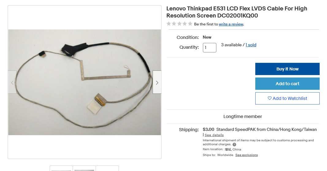 کابل فلت تصویر لپ تاپ لنوو Thinkpad Edge E531 E431 E531C