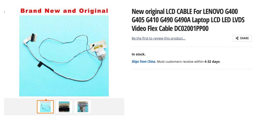 کابل فلت تصویر لپ تاپ لنوو Ideapad G400 G490 DC02001PQ00