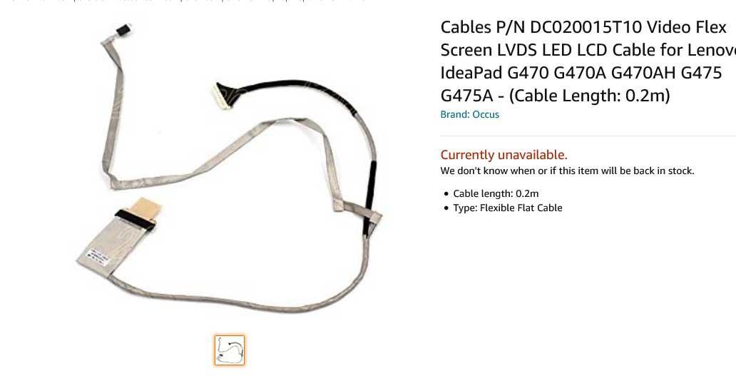 کابل فلت تصویر لپ تاپ لنوو IdeaPad G470 G475 DC020015T10