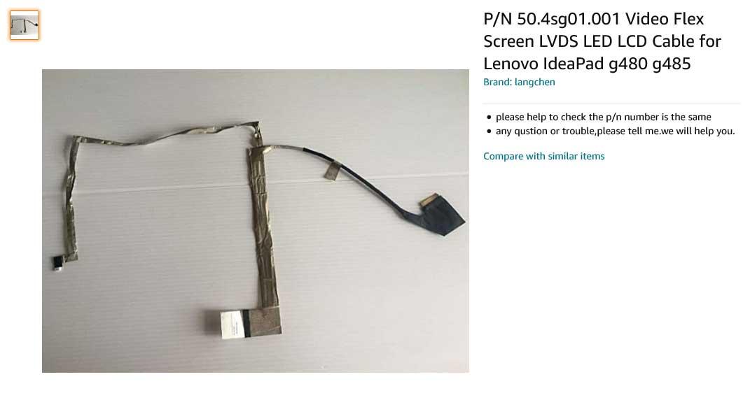 کابل فلت تصویر لپ تاپ لنوو IdeaPad G480 G580 G485 G585 G580A