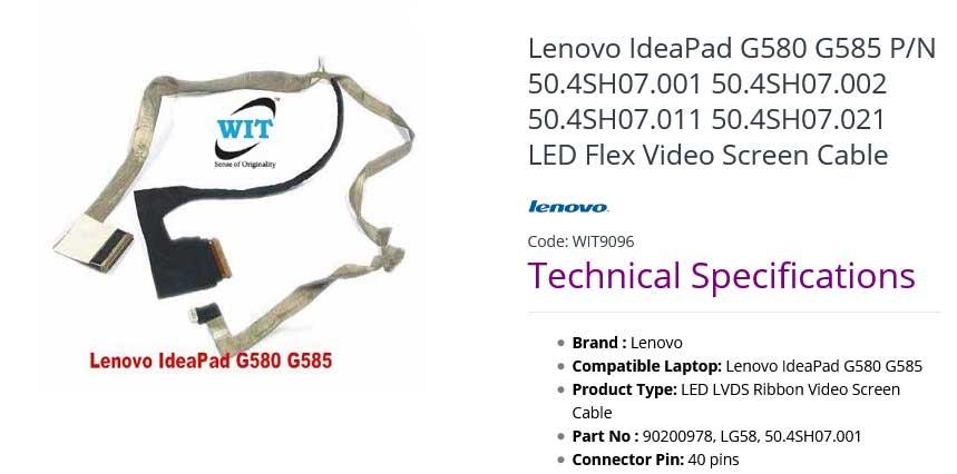 کابل فلت تصویر لپ تاپ لنوو IdeaPad G580 Z500 50.4SH07.001