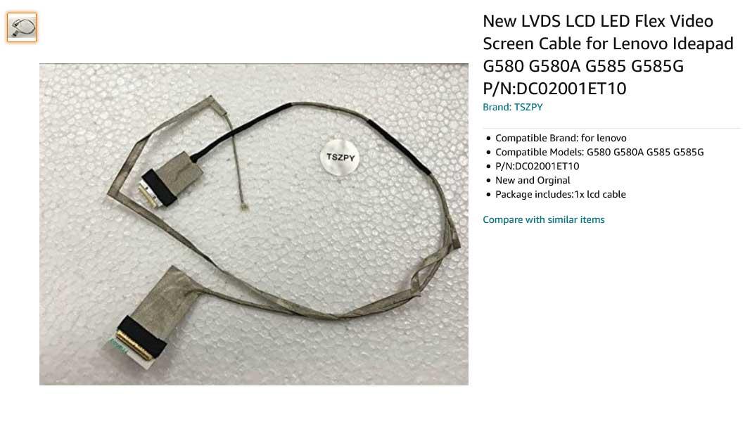 کابل فلت تصویر لپ تاپ لنوو G585G G585 G580 G485DC02001ET10