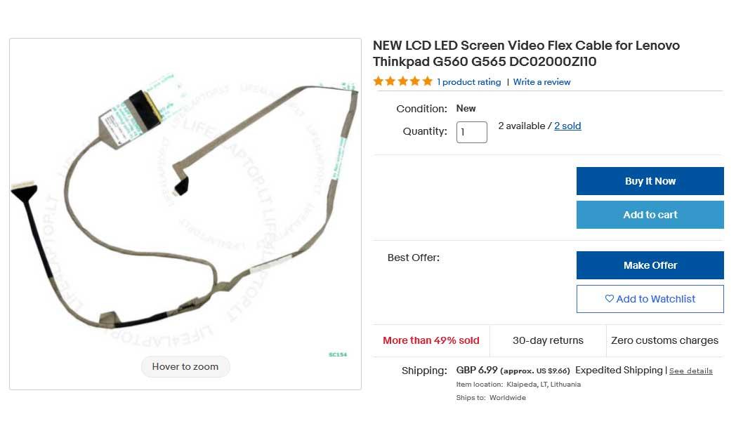 کابل فلت تصویر لپ تاپ لنوو G560 G565 Z560 Z565 DC02000ZI10