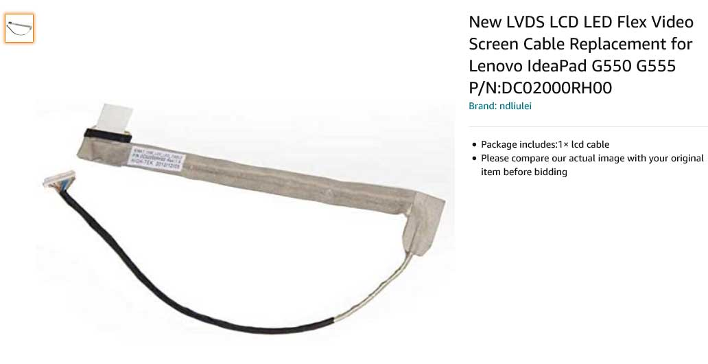 کابل فلت تصویر لپ تاپ لنوو IdeaPad G550 G555 DC02000RH00