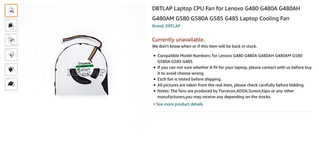 فن لپ تاپ لنوو G480 G580 G585 G4850 G480A G480AH G480AM