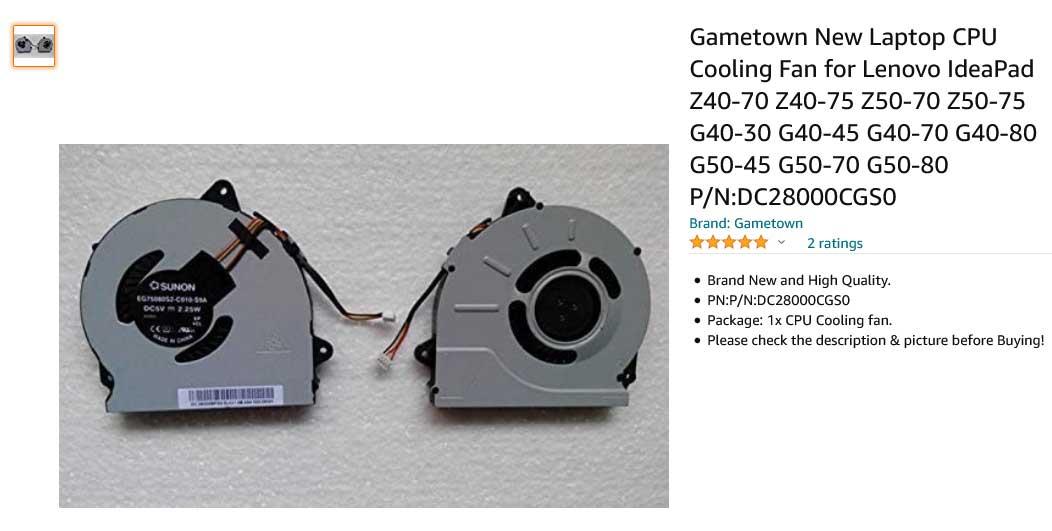 فن لپ تاپ لنوو Ideapad Z50-70 Z50-80 Z40-70 Z40-80 G50-70