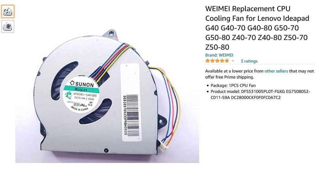 فن لپ تاپ لنوو Ideapad G50-70 G40-70 G50-80 Z40-70 Z40-80