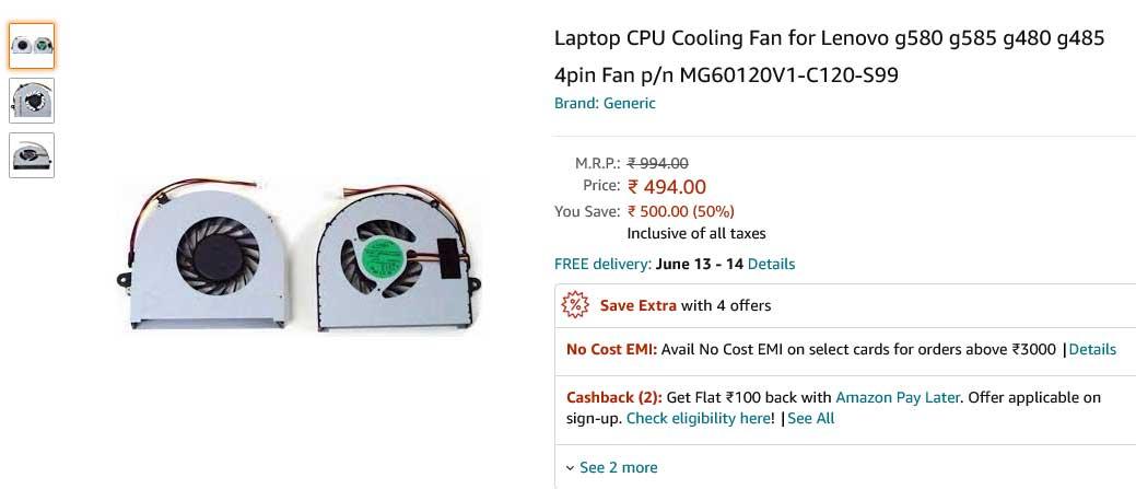 فن لپ تاپ لنوو G580 G585 G480 G485 G480A Fan G480AM