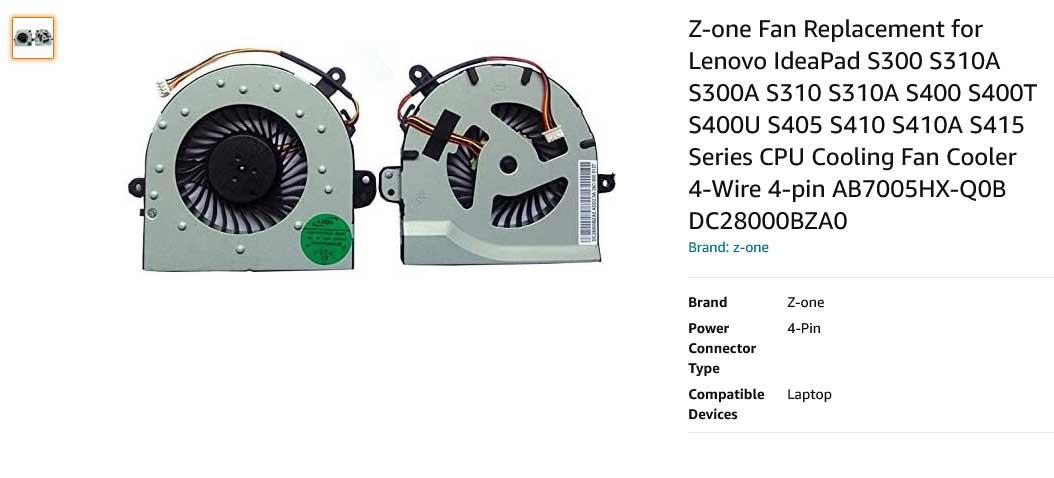 فن لپ تاپ لنوو IdeaPad S300 S310A S300A S310 S310A S400