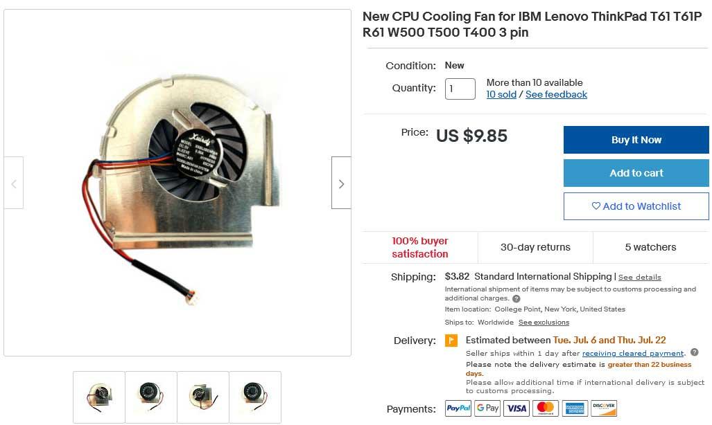 فن لپ تاپ لنوو Fan Lenovo T400 R400 W500 T61 T61P R61 3pin