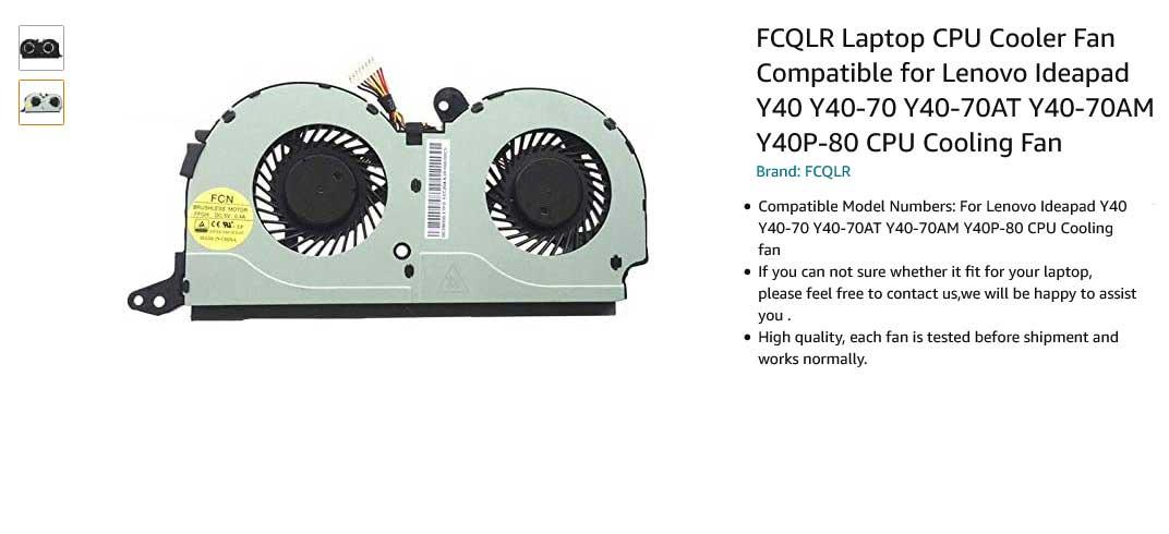 فن لپ تاپ لنوو Ideapad Y40 Y40-70 Y40-70AT Y40-70AM Y40P-80