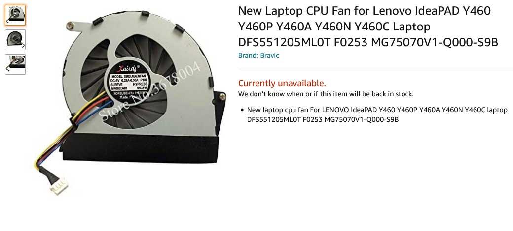 فن لپ تاپ لنوو IdeaPAD Y460 Y460P Y460A Y460N Y460C