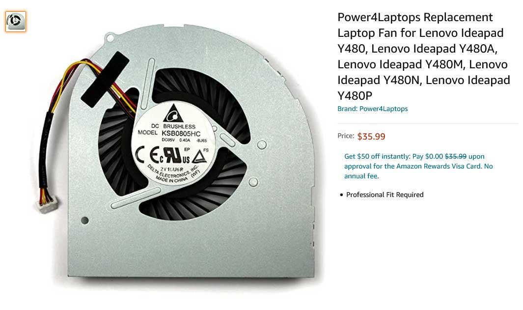 فن لپ تاپ لنوو Ideapad Y480 Y480A Y480M Y480N Y480P