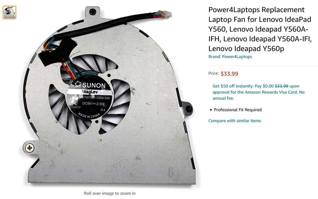 فن لپ تاپ لنوو Ideapad Y560A Y560P Y560 Fan MG75070V1