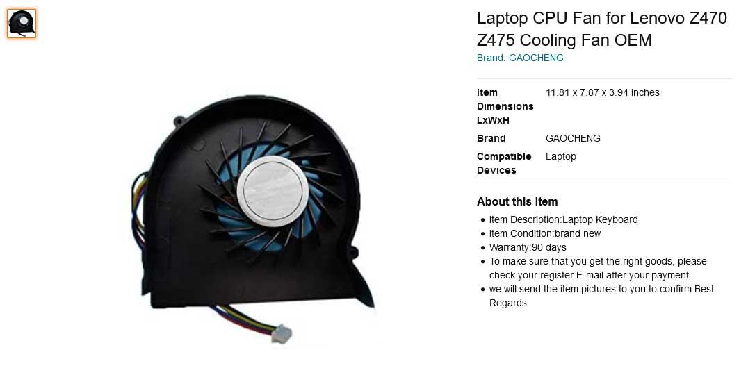 فن لپ تاپ لنوو Ideapad Z470 Z475 Z470G Z470A Z470K