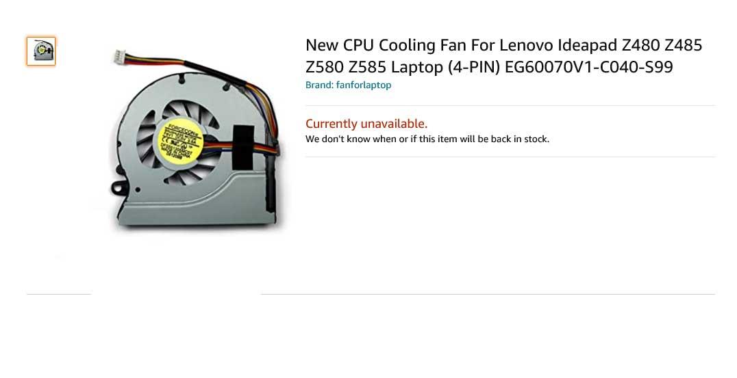 فن لپ تاپ لنوو Ideapad Z480 Z485 Z580 Z585 Fan Z480A Z580A