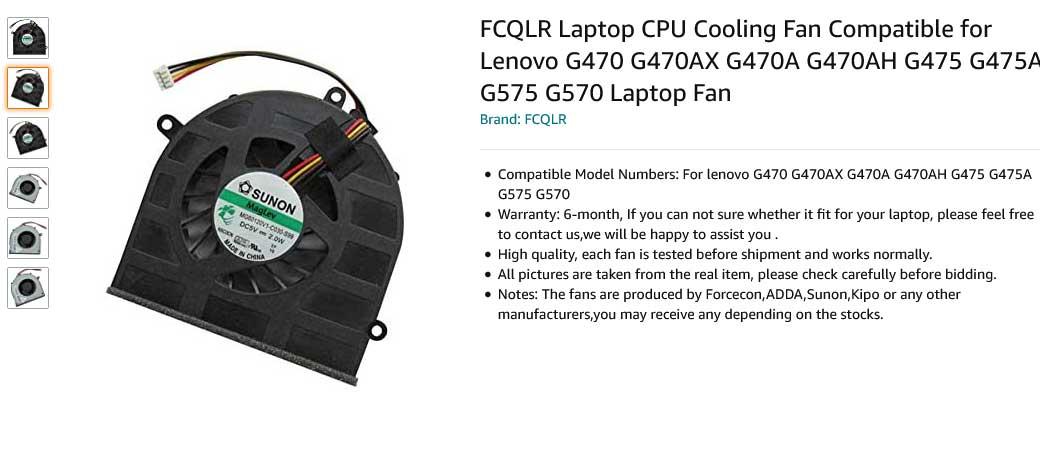 فن لپ تاپ لنوو Ideapad G470 G475 G570 G575 Fan G470A G475A
