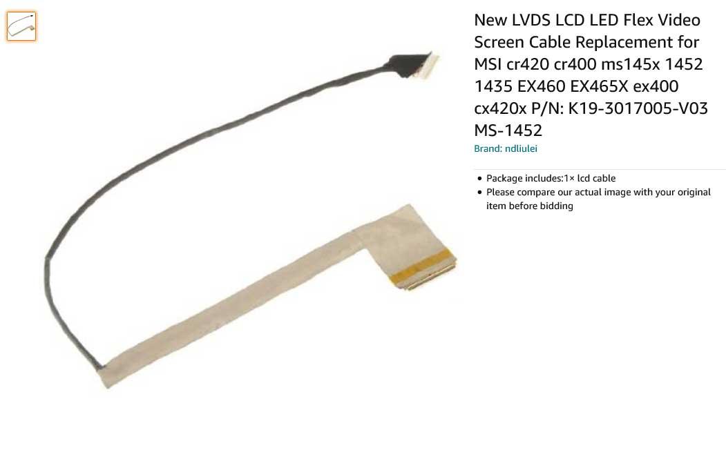 کابل فلت لپ تاپ ام اس آی CR400 EX460 CR420 EX400 CX420