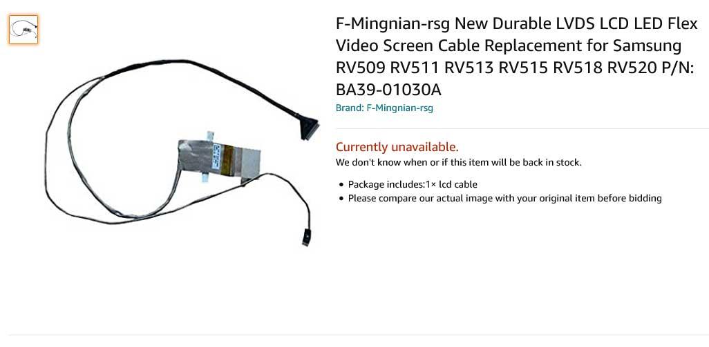 کابل فلت تصویر لپ تاپ سامسونگ RV515 RV518 RV511 RV513 RV509