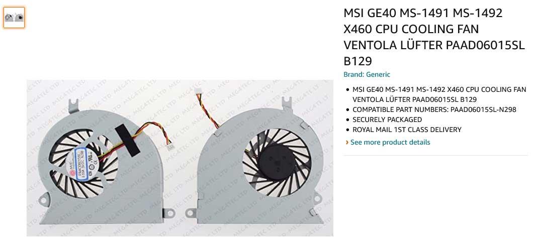 فن لپ تاپ ام اس آی MSI GE40 X460 A101 MS-1491 MS-1492