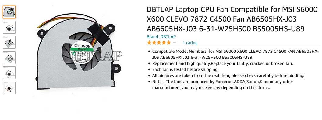 فن لپ تاپ ام اس آی MSI S6000 X600 MS-16D3 X610