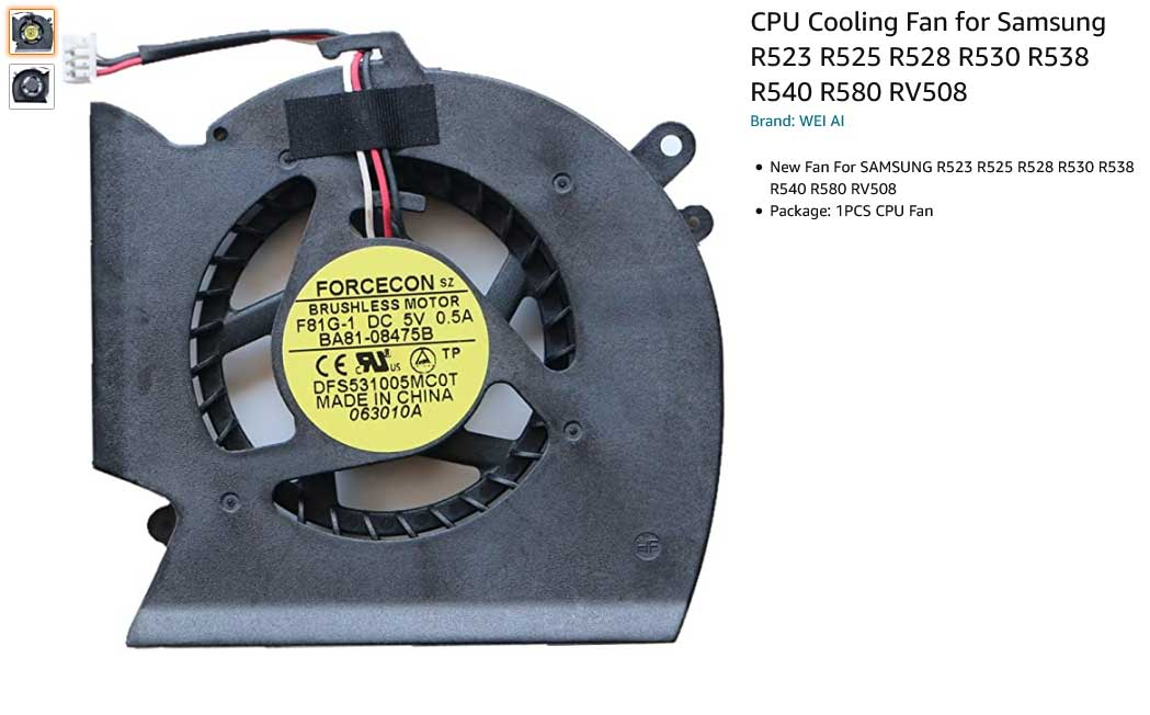 فن لپ تاپ سامسونگ R523 R525 R528 R530 R538 R540 R580 RV508