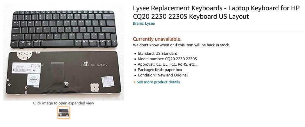 کیبورد لپ تاپ اچ پی Keyboard Hp Presario CQ20