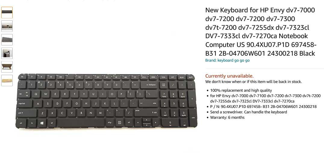 کیبورد لپ تاپ اچ پی Keyboard Pavilion DV7-7000