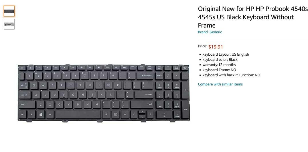 کیبورد لپ تاپ اچ پی ProBook 4540 4540s 4545s