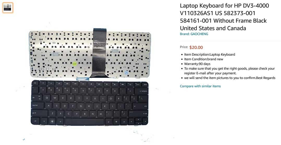 کیبورد لپ تاپ اچ پی HP DV3-4000 DV3-4100 CQ32