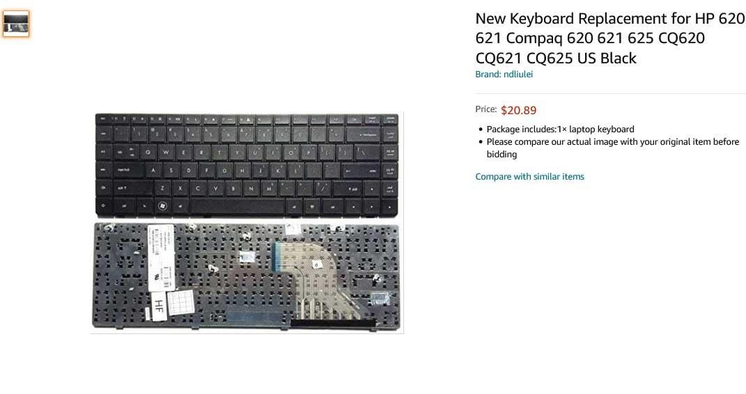 کیبورد لپ تاپ اچ پی HP 620 621 625 CQ620 CQ621