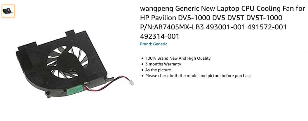 فن لپ تاپ اچ پی DV5 DV5-1000 DV5T DV5T-1000