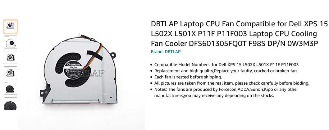 فن لپ تاپ دل XPS 15 L502X L501X P11F Fan Dell Laptop