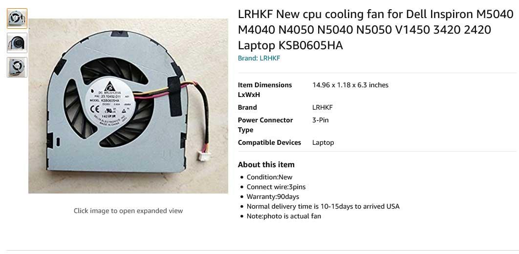 فن لپ تاپ دل Inspiron N4050 N5040 M5040 N5050 M4040 V1450 Vostro 1540