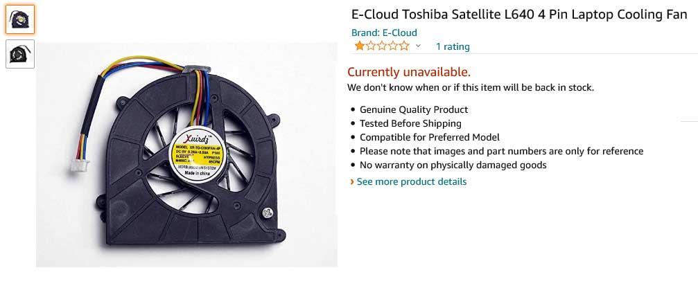 فن لپ تاپ توشیبا Satellite L630 L635 C640