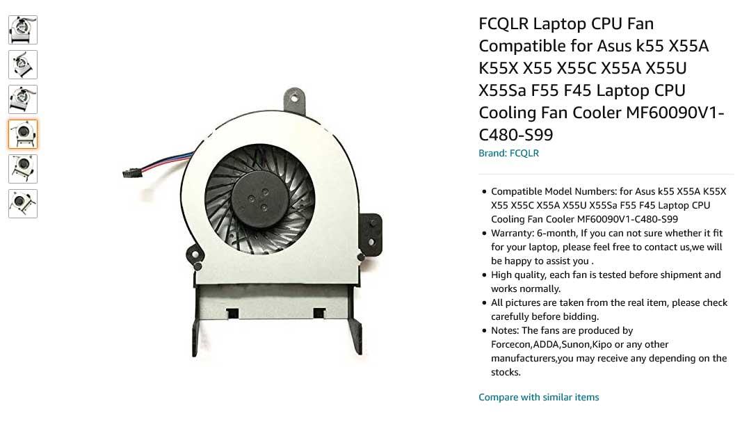 فن لپ تاپ ایسوس FAN Asus k55 X55A K55X X55 14mm