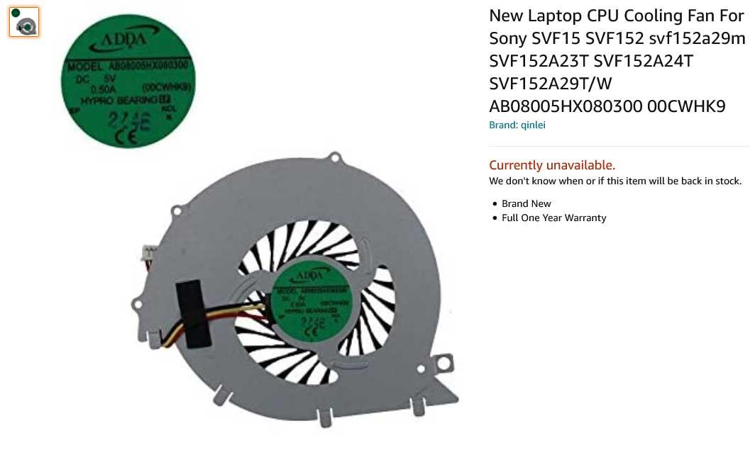 فن لپ تاپ سونی Sony SVF15 SVF15E SVF152 Fan SVF152A23T