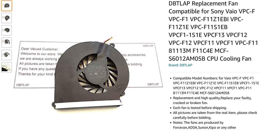 فن لپ تاپ سونی FAN SONY VPC F11 VPCF11 VPC-F1 Z1E