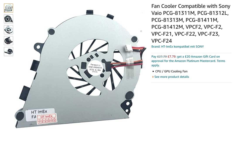 فن لپ تاپ سونی VPCF2 VPC-F2 VPCF21 VPCF VPC-F VPC-F215